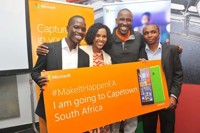 (L-R)Uganda's Onekalit Uhuru, Microsoft Mobile Device EA, General Manager Mariam Abdullahi, Tanzania's Richard Mtango and Kenya's Philip Mwaura. Picture courtesy of Microsoft EA.
