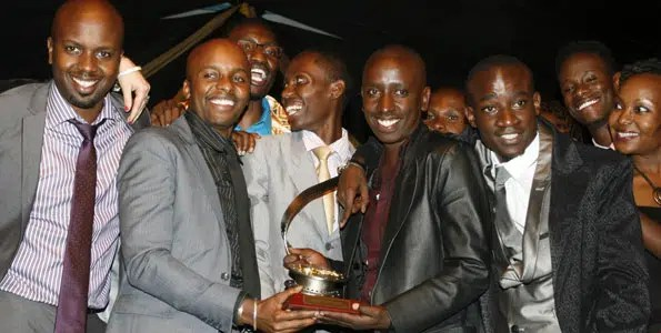 Nairobi Half Life actors after they won Best Feature Film. Image credit Charles Kamau http://www.nation.co.ke/News/Kenyas-best-on-screen-feted/-/1056/1640300/-/cvf3wgz/-/index.html