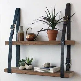 Turning belts into shelves. Image from https://www.pinterest.com/pin/317222367480410826/