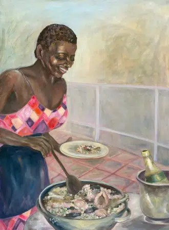 Woman making a delicious meal. Image from http://www.evejorgensenart.com/album/eve-jorgensen-art/islander-woman-cooking-jpg/
