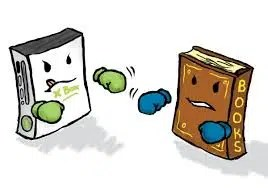 Books vs games. Image from http://www.50ayear.com/2013/04/19/are-books-better-than-video-games/