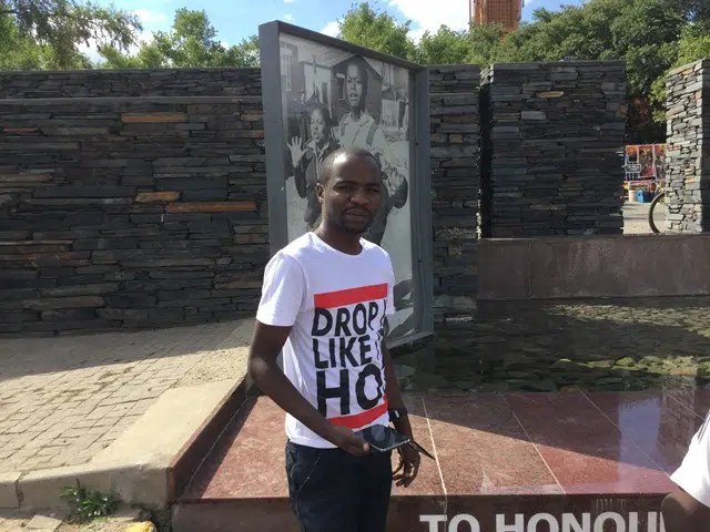 Daniel Ominde Visiting Hector Pietterson museum in Soweto, Johannesburg, South Africa.