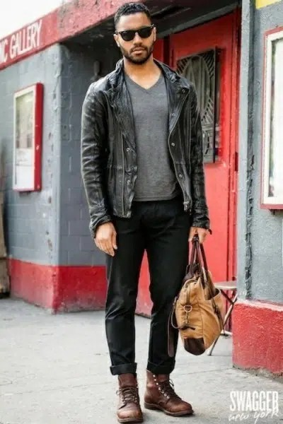 A man wearing a black leather jacket and leather shoes. Image from http://famousoutfits.com/collections/black-leather-jacket/