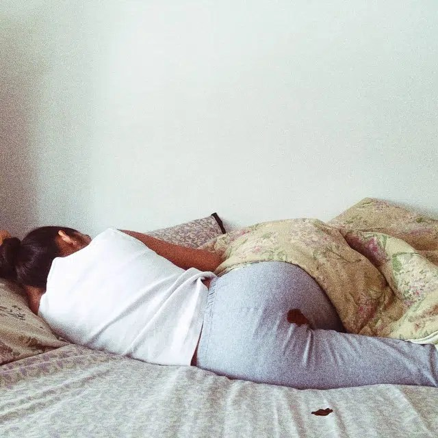 Woman menstruating. Photo by Rapi Kaur. Image from http://freethoughtblogs.com/yemmynisting/2015/03/30/periods-the-shame-and-shaming/