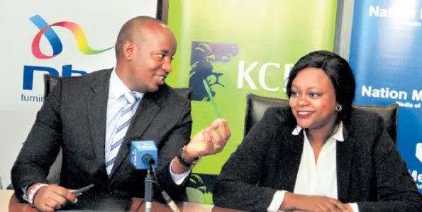 Linus Kaikai, the Nation Broadcasting Division General manager, with Angela Mwirigi, the KCB Director Marketing and Communications, during the signing of a deal to air the Lion's Den programme in Nairobi. Photo credit  http://www.businessdailyafrica.com/