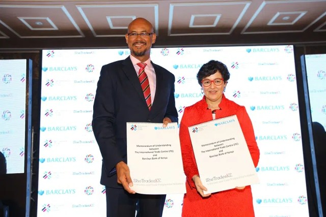Barclays Bank of Kenya Managing Director, Jeremy Awori (left) with International Trade Centre Executive Director, Ms. Arancha Gonzalez at the launch of the SheTrades Kenya initiative at the Villa Rosa Kempinski hotel today. The initiative is a partnership between Barclays Bank of Kenya and the International Trade Centre to train, empower and bring to global markets 10,000 women entrepreneurs in the country by the year 2020. Picture courtesy of Barclays Kenya