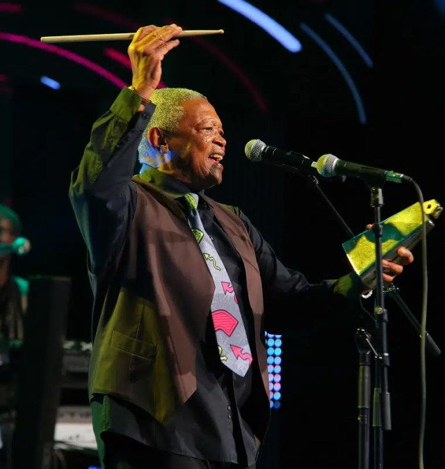 Hugh Masekela performs at Safaricom Jazz. Image courtesy of Safaricom.