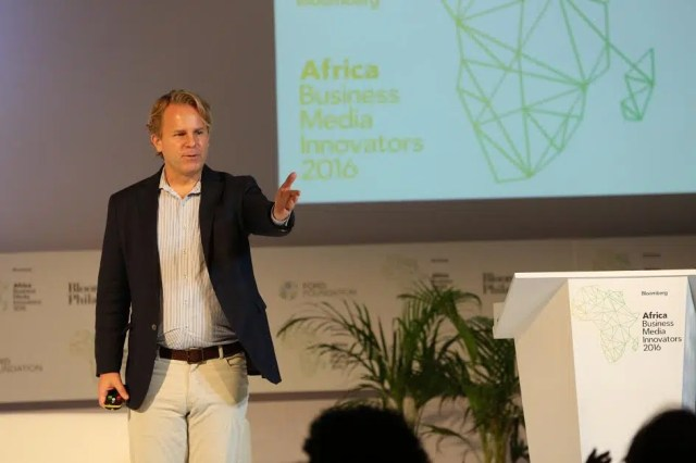Justin B. Smith, CEO Bloomberg Media addressing the delegates at the Bloomberg Africa Business Media Innovators 2016 summit.