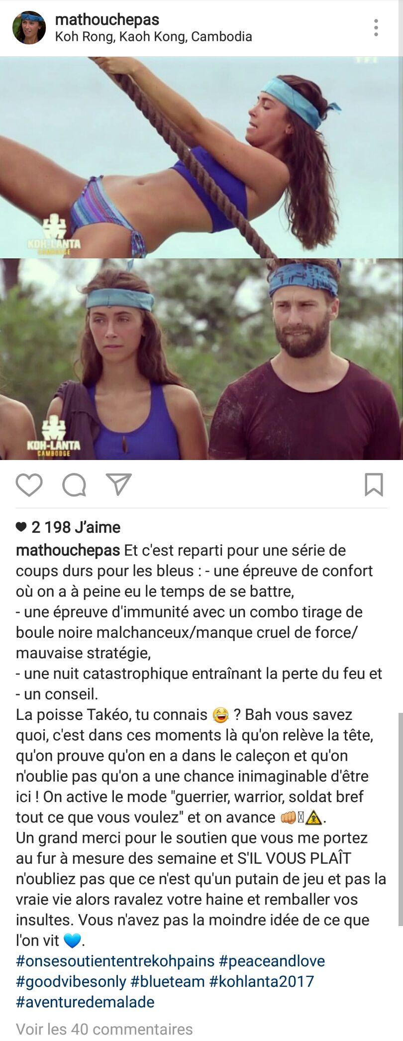 #KohLanta : Mathilde remet en place les détracteurs sur Instagram