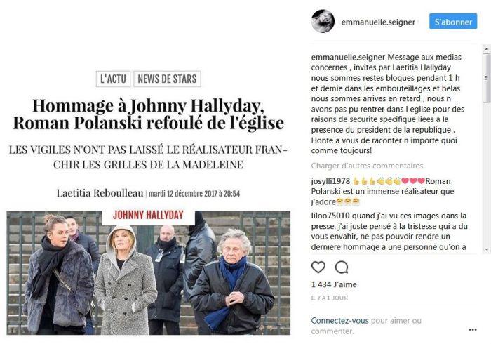 Hommage à Johnny Hallyday : L'épouse de Roman Polanski, Emmanuelle Seigner, pousse un coup de gueule !