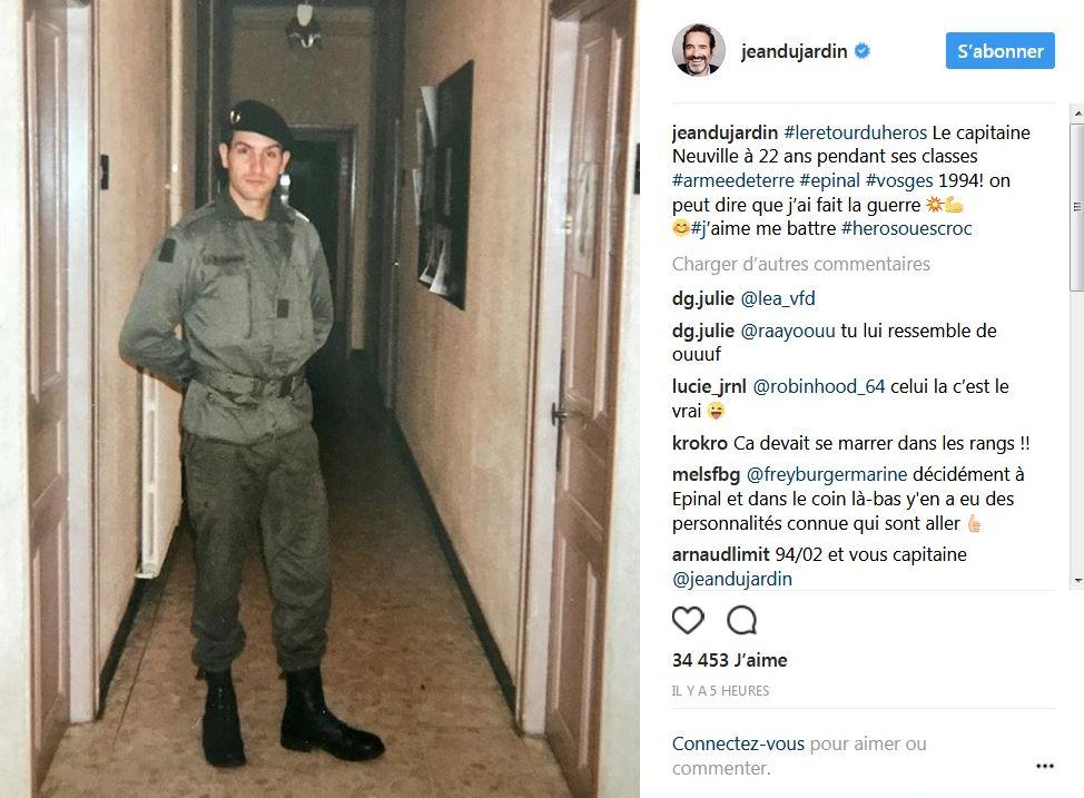 Jean Dujardin partage une photo de son service militaire