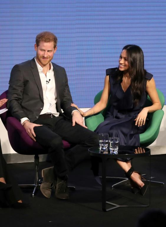 Le prince Harry et sa fiancée américaine Meghan Markle. Leur mariage est prévu en mai. Le 28 février 2018 à Londres.