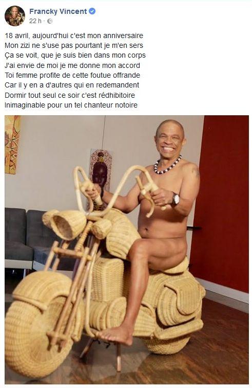 Francky Vincent : Nu pour ses 62 ans, il lance un appel coquin !