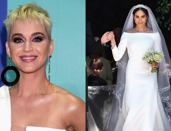 Mariage du Prince Harry et de Meghan Markle : La chanteuse Katy Perry critique la robe de la mariée
