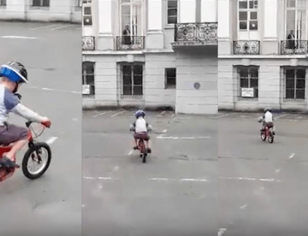 Une maman filme son garçon en train de faire du vélo quand un fantôme apparaît sur la vidéo!