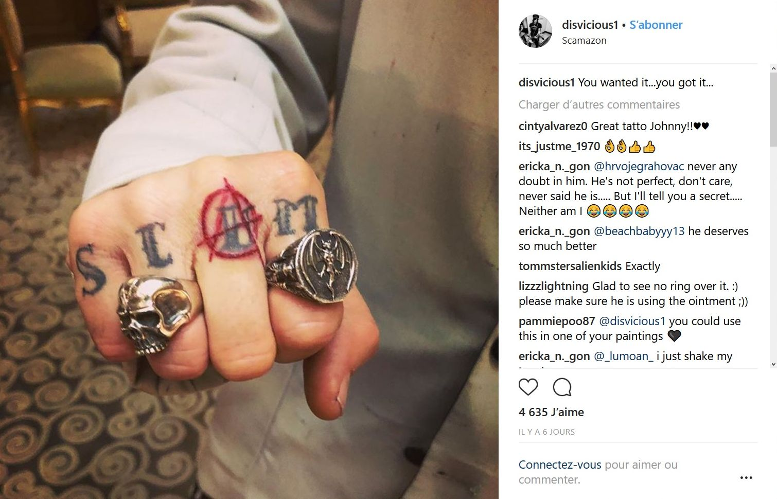 Johnny Depp modifie (encore) son tatouage dédié à Amber Heard
