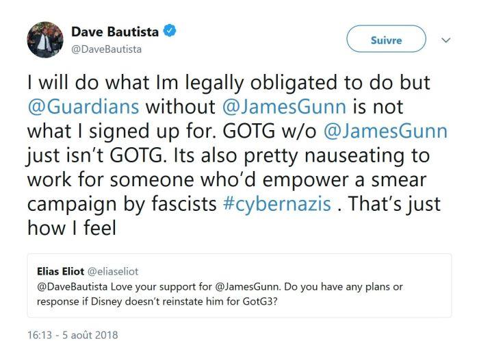 Les Gardiens de la Galaxie : Dave Bautista (Drax) défend le réalisateur James Gunn après la polémique !