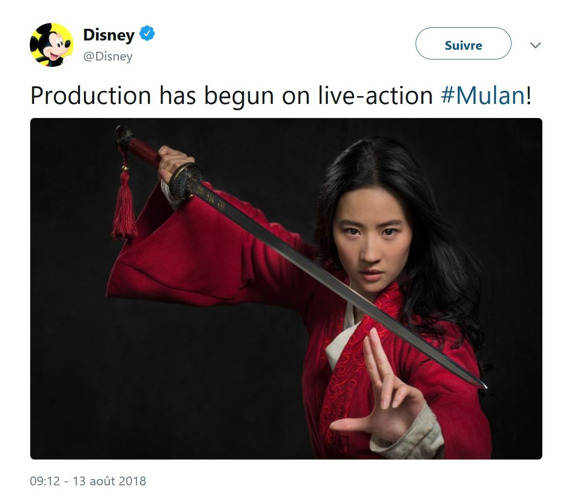 Mulan: Disney dévoile le visage de l'actrice qui incarnera l'héroïne