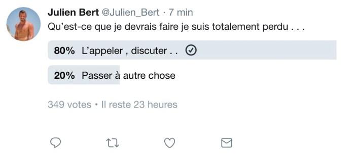 Julien Bert de nouveau avec Carla Moreau ? « Je pourrais mais… »