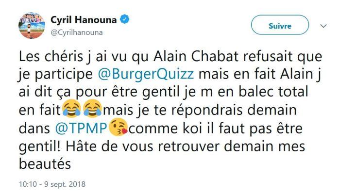 Cyril Hanouna s'en « balec » d'être boycotté par Alain Chabat !