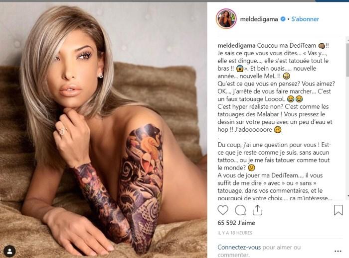 Mélanie Dedigama totalement nue : Cet énorme tatouage qu'elle vient de dévoiler