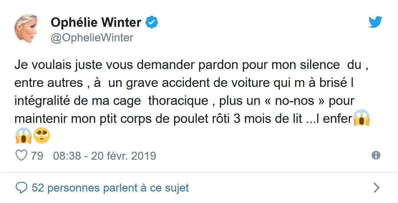 Ophélie Winter, victime d'un grave accident de voiture