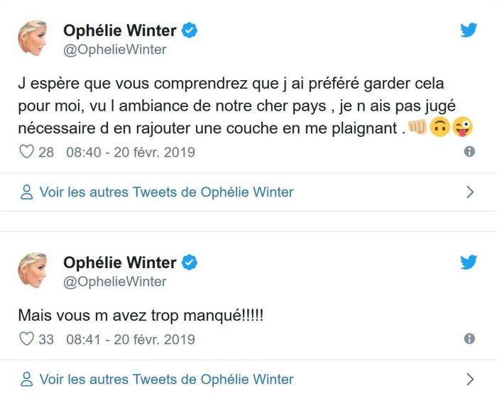 Ophélie Winter : « Un grave accident de voiture m'a brisé la cage thoracique »