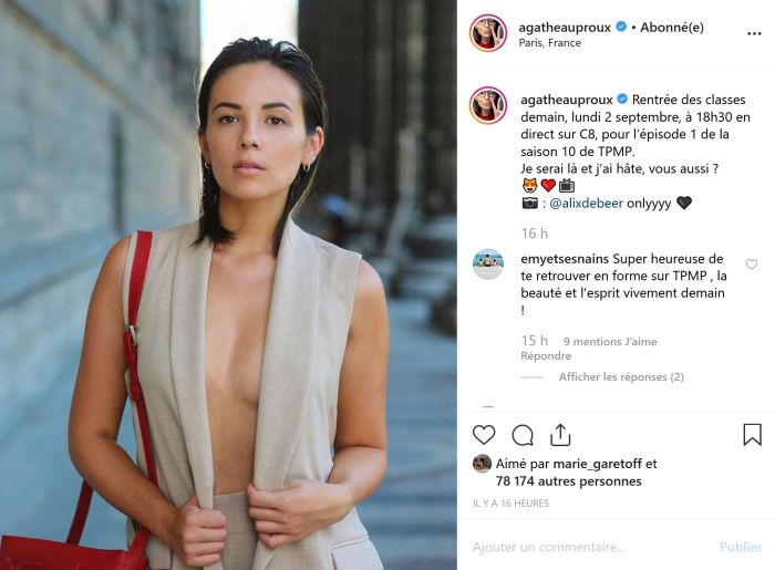 Agathe Auproux sexy et topless pour fêter la rentrée de TPMP