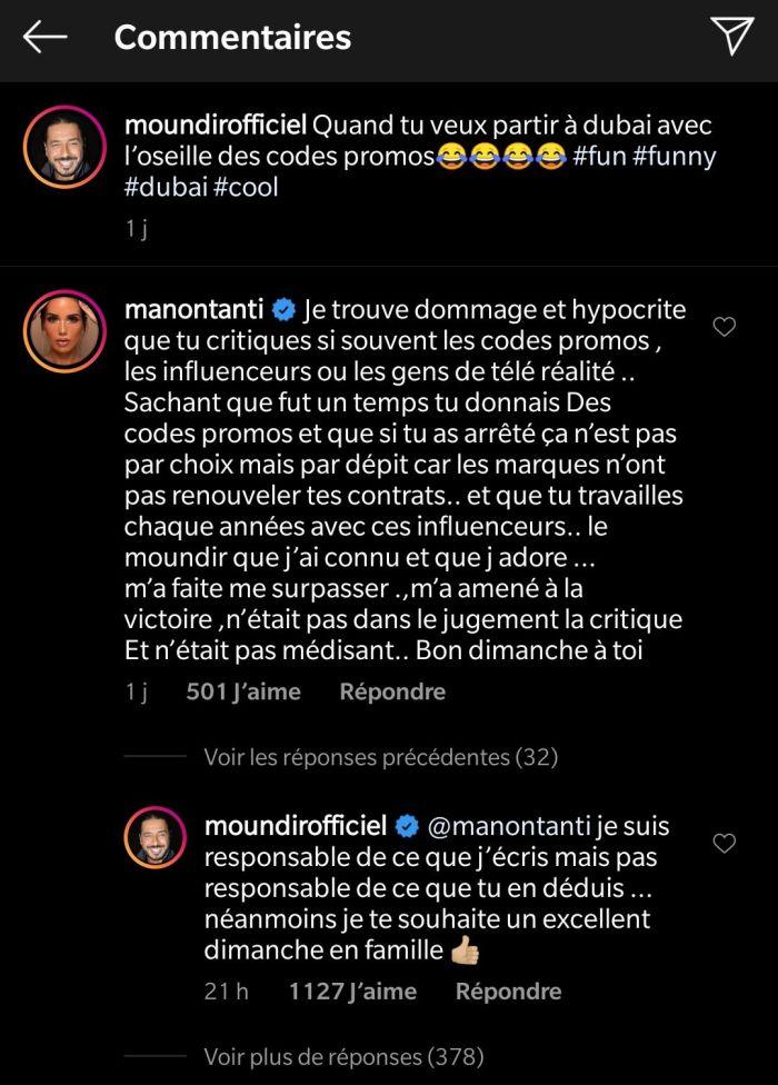Moundir se moque des placements de produits, Manon Marsault rétorque !
