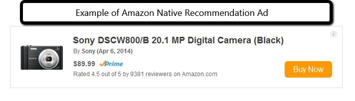 One example of a Recommendation Native Ad block from Amazon - PotPieGirl.com