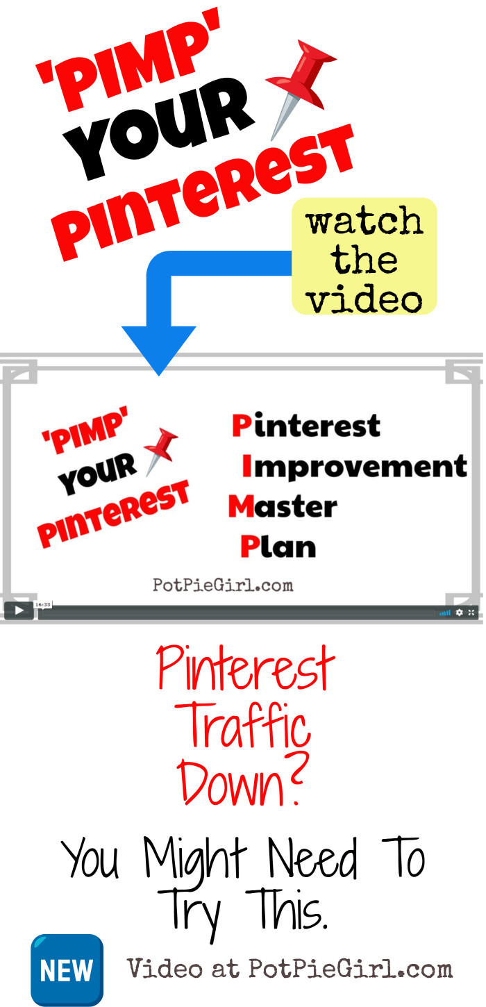 Is your blog traffic from Pinterest down?  Feel like something has changed? (you're right!) Feel like Group Boards don't work anymore? (not true)  Watch my Pinterest Improvement Master Plan for bloggers video for more info...