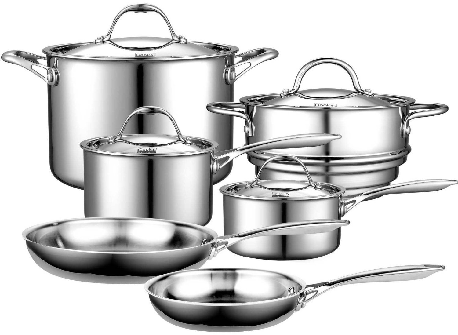 how to arrange pots and pans in kitchen hideaway table cooks standard multi ply clad review stainless steel