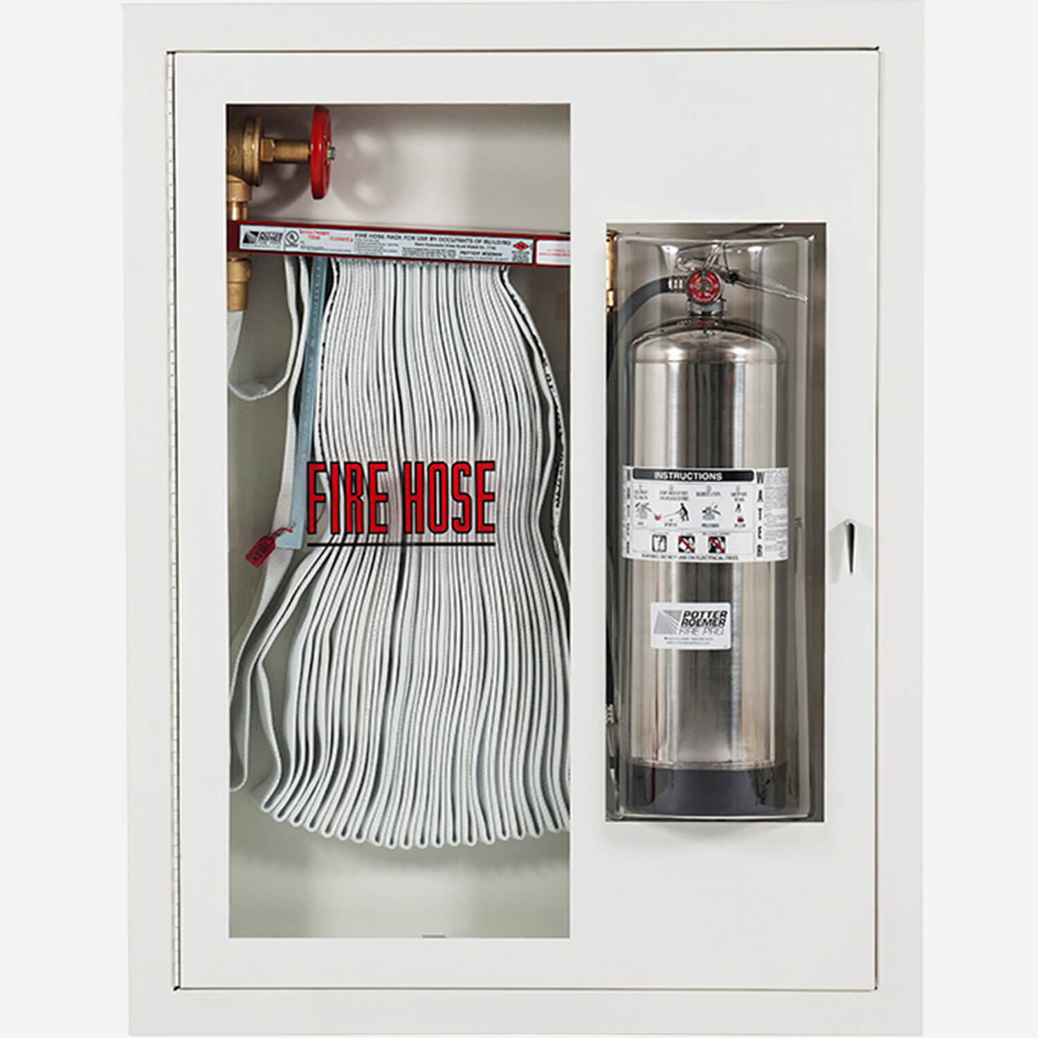 """Fire Rated 1.5"""" Fire Hose Rack and Extinguisher (Bubble"""