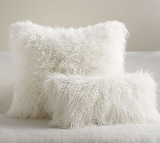 Mongolian Faux Fur Pillow Cover  Ivory  Pottery Barn