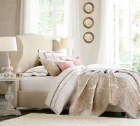 Raleigh Upholstered Wingback Bed & Headboard | Pottery Barn