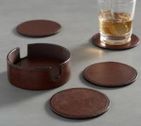 Saddle Leather Drink Coaster, Set of 6