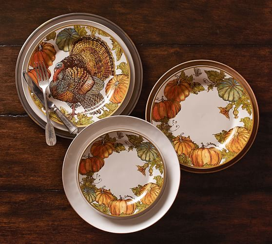 Heritage Pumpkin Dinner Plate Set of 4  Pottery Barn