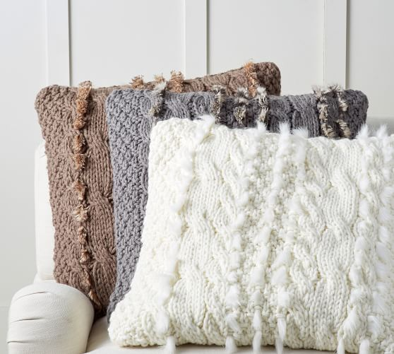 Faux Fur Cable Knit Pillow Covers  Pottery Barn