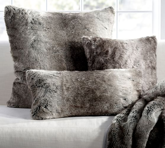 Faux Fur Pillow Cover  Gray Ombre  Pottery Barn