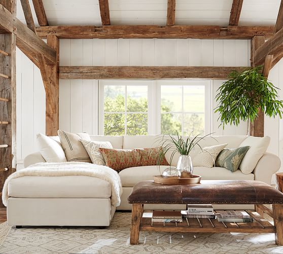 pottery barn chaise sofa sectional 1 seater set pb air roll arm upholstered 4 piece with