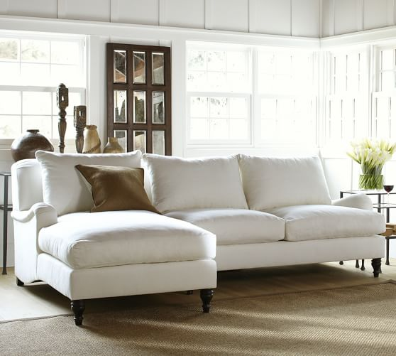 pottery barn chaise sofa sectional chester piel blanco carlisle upholstered with