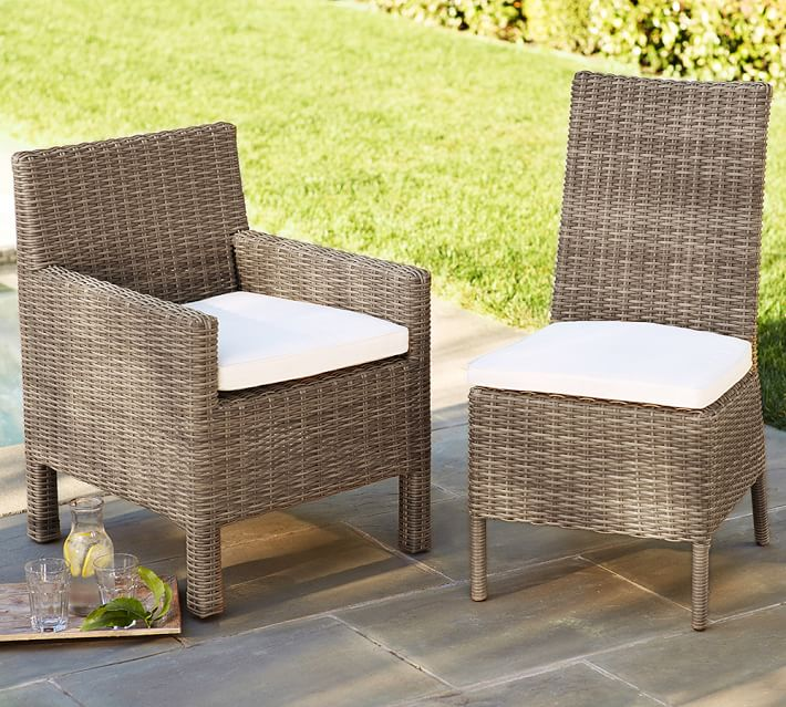 comfortable wicker chairs chair rental indianapolis torrey all weather dining side natural pottery barn