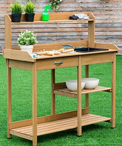 Awesome Ka Company Bench Potting Table Garden Planting Outdoor Wood Caraccident5 Cool Chair Designs And Ideas Caraccident5Info