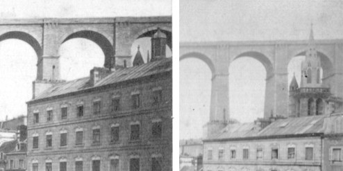 Le clocher de Saint-Melaine avant 1875 et après