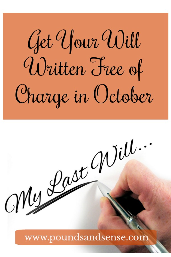 Get Your Will Written Free of Charge in October
