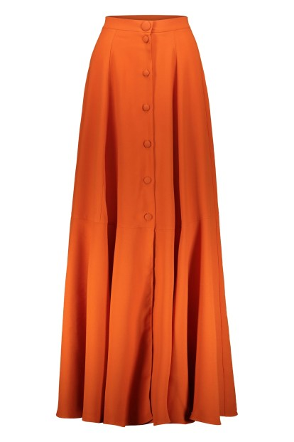 Poupine button orange flared skirt