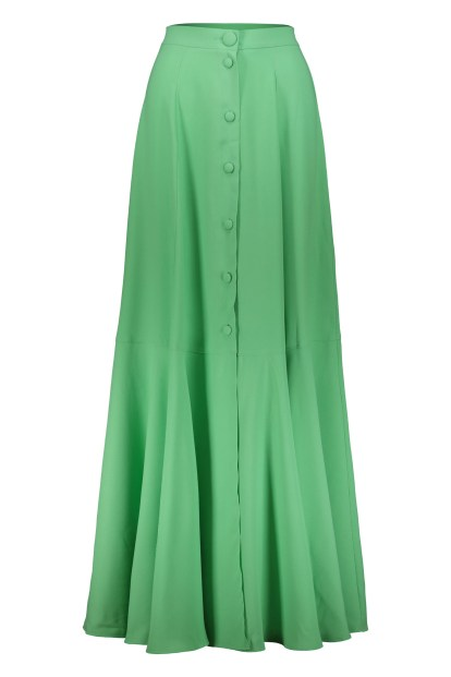 Poupine green button flared skirt