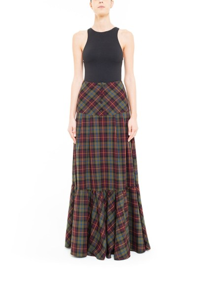 Green and brown plaid pleated skirt with yoke at the waist