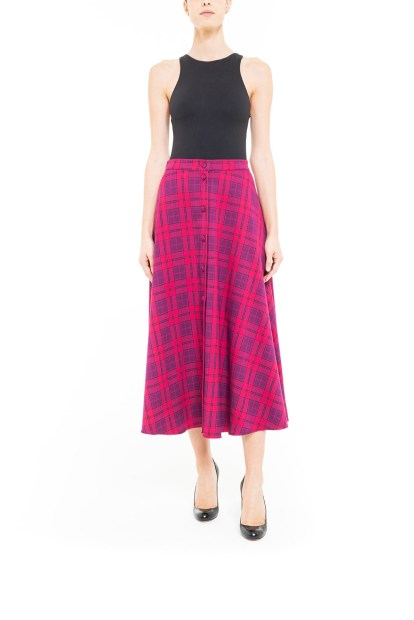 Gonna longuette con bottoni tartan Fucsia
