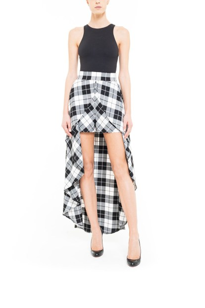Black and white plaid pant skirt